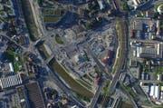 Blick aus der Luft auf den Seetalplatz und seine Umgebung. (Bild: Gemeinde Emmen)