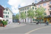 Der Dorfkern wie er einst aussehen soll: Zu sehen sind die Gebäude Gallusstrasse 5 (von links), Gallusstrasse 7, das Restaurant Krienserhalle und die Papeterie Birrer. (Bild: Visualisierung PD)