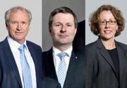 Sie treten zum 2. Wahlgang an (von links): Paul Winiker (SVP, neu), Marcel Schwerzmann (parteilos, bisher) und Felicitas Zopfi (SP, bisher). (Bilder Neue LZ)