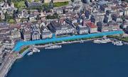 Zwischen Luzernerhof und Schwanenplatz: Die ungefähren Ausmasse der Idee für ein Seeparking an der Luzerner Seepromenade. (Bild: Montage bac/Google Maps)