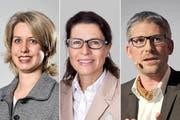 Diese drei signalisieren Interesse am Amt des Stadtrats (von links): Franziska Bitzi Staub, Pia Maria Brugger Kalfidis und Roger Sonderegger. (Bilder Neue LZ/PD/Urs Hanhart)