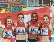 Bronze-Staffel, von links: Ajla Del Ponte, Riccarda Dietsche, Sarah Atcho und Géraldine Frey. Bild: Radoslaw Jozwiak/Freshfocus (Bydgoszcz, 16. 7. 2017)