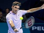 Für einmal mit der Slice-Rückhand zum Erfolg: Roger Federer (Bild: KEYSTONE/ALEXANDRA WEY)