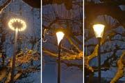 Drei LED-Leuchten erhellen versuchsweise die Zuger Quaianlagen. (Bild: PD)