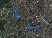 Eine allfällige Überdachung wäre zwischen Heimbachschulhaus und Sälistrasse (links) sowie Paulusplatz und Neustadtstrasse geplant. (Bild: Google Maps)