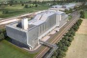 Der Luzerner Stadtrat unterstützt das Projekt Fernwärme Luzern Nord Rontal der ewl. Im Bild die geplante Kehrrichtverbrennungsanlage in Perlen, die Strom und Abwärme generiert. (Bild: PD)
