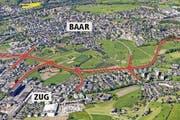Rot eingezeichnet ist der Verlauf der Tangente Zug/Baar mit den vier Knoten Zugerstrasse, Industriestrasse, Inwilerriedstrasse und Rigistrasse (von links nach rechts). Die gestrichelte Linie zeigt den Geissbüel-Tunnel. (Bild: Visualisierug Baudirektion)