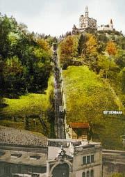 Die Gütsch-Bahn mit Talstation auf einer Postkarte um 1910. (Bild: Keystone)