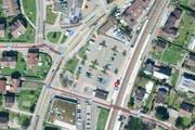Das «Areal Zythus» liegt an bester Lage und soll nun bebaut werden. Derzeit finden sich dort 70 Auto-Parkplätze. (Bild: maps.search.ch)