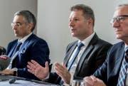 Finanzdirektor Marcel Schwerzmann bei der Präsentation der neusten Sparpläne. (Bild: Nadia Schärli (Luzern, 28. Juni 2017))