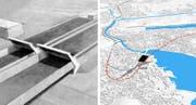 Der Bypass (Skizze des zusätzlichen Portals beim Sonnenbergtunnel) und der Tiefbahnhof (Visualisierung der Streckenführung) sind beides Luzerner Grossprojekte. (Bild: pd)