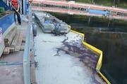 Zwischen 30 und 50 Liter Hydraulik-Öl liefen aus. (Bild Kantonspolizei Nidwalden)