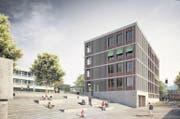 Das neue fünfgeschossige Schulhaus soll zwischen 2016 und 2018 gebaut werden. (Bild: Visualisierung PD)