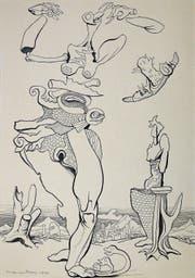 Rund 25 000 Zeichnungen hat Max von Moos der Nachwelt hinterlassen, rund 10 000 davon zählen zu seinem künstlerischen Œuvre. Tusche auf Papier (1954) ... (Bild: Pro Litteris / PD)