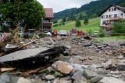 Unwetterschäden im Gebiet Dörfli in Dierikon, aufgenommen am letzten Montag. (Bild: Corinne Glanzmann / Neue LZ)