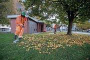 Asylsuchende reinigen im Tessin einen Park. Massnahmen zur Integration in den Arbeitsmarkt sind auch im Kanton Luzern ein grosses Thema – weil sonst die Sozialhilfekosten von Kanton und Gemeinden steigen. (Bild: Francesca Agosta/Keystone (Biasca, 18. Oktober 2017))