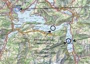 Die Karte mit den Probenahmestellen (schwarze Ringe) und den Seewasserfassungen (blaue Kreise). (Bild: PD)