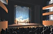 So soll die geplante Salle Modulable dereinst von innen aussehen. (Bild: Visualisierung PD)