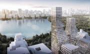 Moderne, asymmetrische Türme setzt das Architekturbüro an die Stelle . . . (Bild: Hollwich Kushner)