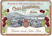 Visitenkarte der «Kirsch-Destillation Zug, Carl Landtwing, Zug», nach 1902. (Bild: Privatarchiv Ueli Kleeb, Zug)