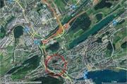Der Unfall im Reussporttunnel (roter Kreis) führte zu kilometerlangem Staus auf den Autobahnen A2 und A14. (Bild: map.search.ch)
