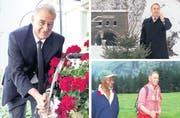 Drei Bilder aus der Biografie «Dölf Ogi»: Beim Erfrischen an einem Brunnen im Jahr 2012 (links), die legendäre Neujahrsansprache (1. Januar 2000) und beim Wandern mit Kofi Annan im Jahre 2000. (Bilder Ex-Press / Keystone)