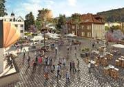 Pavillon, Markt, Boulevard-Café: So könnte der Ebikoner Pfarreiheimplatz beim «Löwen» künftig aussehen.Visualisierung: PD