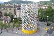 Die Kunstinstallation Urhütte beim Luzerner Pilatusplatz. (Bild: Luca Wolf / Neue LZ)