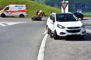 Die Kollision der beiden Fahrzeuge in Buochs war heftig. (Bild: pd)
