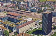 Der Zuger Güterbahnhof (rechts der Parktower). (Bild: Screenshot Google Maps)