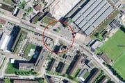 Bei der Kreuzung Tribschen-/Weinberglistrasse wird die Lichtsignalanlage erneuert. (Bild: map.search.ch)