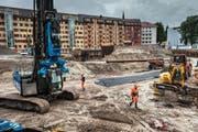 Die Grossbaustelle Himmelrich in Luzern: Hier entstehen bis zu 250 Wohnungen. (Bild Boris Bürgisser)