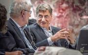 Claudio Magris an der Universität St. Gallen im angeregten Gespräch mit Moderator Arnaldo Benini. (Bild: Michel Canonica)