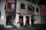 Das Restaurant Untertor am Eingang zum Städtli Willisau wurde durch den Brand vollständig zerstört. (Bild: Radio Pilatus)
