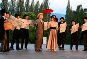 Das Luzerner Freilichtspiel «Das Luftschiff» des Zuger Autors Thomas Hürlimann unter der Regie von Livio Andreina ist noch bis am 15. Juli auf Tribschen zu sehen. (Bild: Keystone / Urs Flüeler)