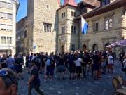 Die Kroatien-Fans sind danach auf den Kornmarkt gegangen.
