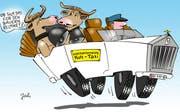 «Interkantonales Kuh-Taxi»: «Ob sich das für die Bauern rechnet?» (Karikatur Jals/Neue LZ)