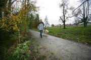 Eine Frau läuft mit ihrem Hund in Oberkirch der Sure entlang. (Bild Philipp Schmidli)
