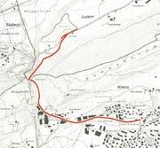 Die Strasse durchs Renggloch (rot) soll verbreitert und mit einem Veloweg ergänzt werden. (Bild: Grafik zvg)
