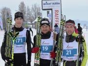 Roman Furger (mitte) gewinnt vor Bruno Joller und Tim Hug (links). (Bild: PD)