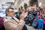 Giorgio Pardini gilt als möglicher zweiter SP-Stadtratskandidat. (Hier bei einer Demonstration gegen kantonale Sparmassnahmen am 4. November 2014 vor dem Regierungsgebäude in Luzern.) (Archivbild Boris Bürgisser)
