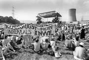 Mehr als 30000 Personen demonstrierten am 21. Juni 1986 in Gösgen gegen AKWs, auch gegen die Pläne in Inwil. Bild: Keystone