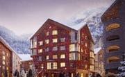 Nahezu alle Wohnungen des Apartementhauses Alpenrose bieten einen Glaserker. (Bild: Visualisierung: Andermatt Swiss Alps)