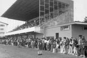 Die Tribüne des Stadions.