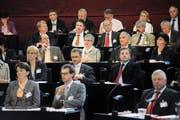 Ein Teil der 39 Kantonsräte starken CVP-Fraktion während der ersten Session am 20. Juni 2011 nach den letzten Wahlen. (Bild: Pius Amrein)