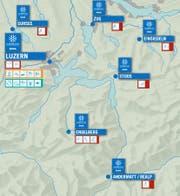 Die Winteruniversiade und die Standorte mit den Sportarten in der Zentralschweiz. (Bild: PD)
