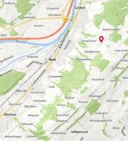 Im Gebiet zwischen Root und Udligenswil hat die abgelegene Scheune gebrannt (Markierung). (Bild: search.ch)