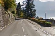 Die Strasse zwischen Vitznau und Gersau wird über Wochen gesperrt. (Bild: Google Maps)