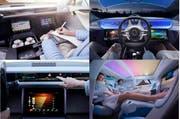 So sieht das Autofahren der Zukunft aus (von oben links im Uhrzeigersinn): Arbeiten während des Fahrens; Hände frei, das Auto fährt autonom, Relaxen - und das Auto fährt; das Auto reagiert auf Infos. (Bild: PD)