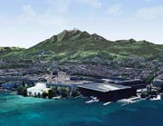 Am Standort Inseli rüttelt das Stadtparlament nicht mehr: Die Fotomontage zeigt die Salle Modulable (links in Weiss) neben dem KKL. (Bild: Visualisierung PD)
